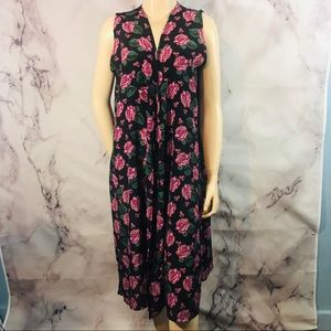 LuLaRoe Black Roses Floral Duster Vest Joy Sz M